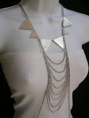 New Women Silver Body Jewerly Multi Chains Crew Neck Spikes Shape Long Necklace - alwaystyle4you - 1