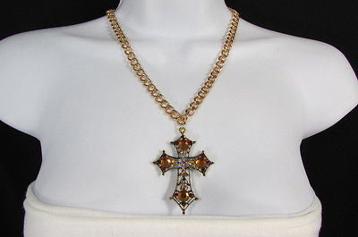 New Women Gold Metal Chain Fashion Necklace Big Cross Brown Rhinestones Pendant - alwaystyle4you - 3