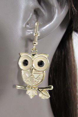 New Women Gold Metal Owl Jewelry Earrings Set Black Eyes Birds Hook Light Weight - alwaystyle4you - 7
