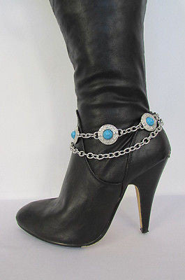 Turqoise Blue Beads Silver Metal Boot Chain Bracelet One Strap New Women Fashion Western - alwaystyle4you - 4