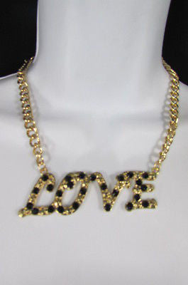 "New Women Fashion Necklace Gold Metal Chains LOVE Pendant Black Rhinestone 16"" - alwaystyle4you - 12"