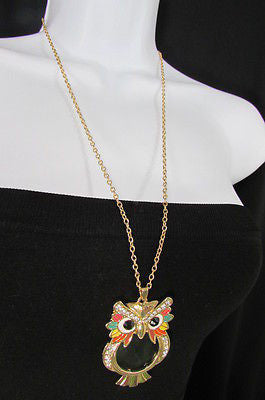 New Women Long Fashion Necklace Thin Gold Chains Owl Magnifying Glass Pendant - alwaystyle4you - 8