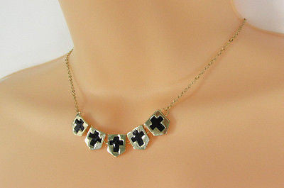 New Women Gold Metal Chain Fashion Necklace Five Mini Black Crosses Long Pendant - alwaystyle4you - 1