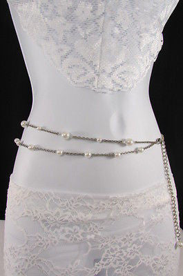 Silver Chains Hip High Waist Belt White Imitation Pearl New Women Fashion Accessories S M L XL - alwaystyle4you - 6