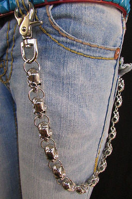 New Men Women Silver Metal Long Wallet Chains Key Chain Thick Skulls Skeleton Biker Punk Rocker Accessory - alwaystyle4you - 9