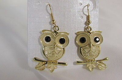 New Women Gold Metal Owl Jewelry Earrings Set Black Eyes Birds Hook Light Weight - alwaystyle4you - 5