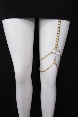 New Women Gold Thigh Leg Metal Chain Links Garter Big Cross Fashion Body Jewelry - alwaystyle4you - 12