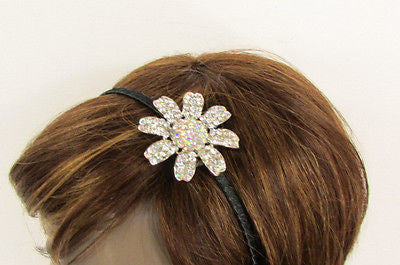 New Women Classic Fashion Headband Large Flower Silver Rhinestones Hair Band - alwaystyle4you - 7