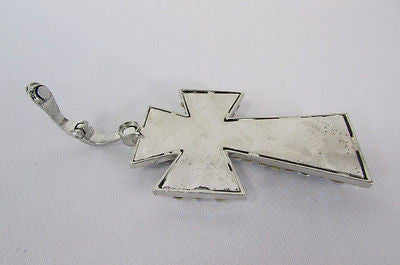 New Women Silver Metal Plate Scarf Necklace Pendant Charm Big Cross Rhinestones - alwaystyle4you - 12