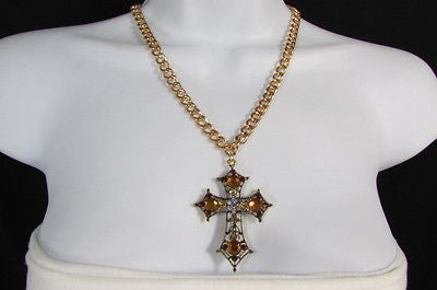 New Women Gold Metal Chain Fashion Necklace Big Cross Brown Rhinestones Pendant - alwaystyle4you - 9