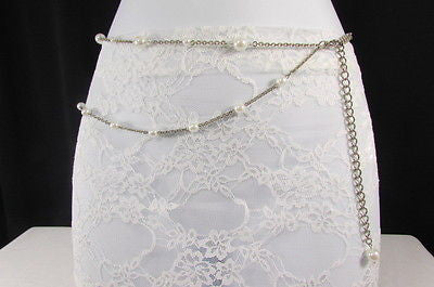 Silver Chains Hip High Waist Belt White Imitation Pearl New Women Fashion Accessories S M L XL - alwaystyle4you - 4