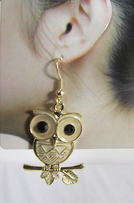 Gold Metal Owl Black Eyes Birds Hook Light Weight Earrings Set New Women Jewelry Accessories