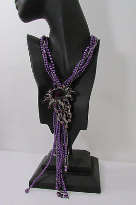Purple Beads Long Twisted Necklace Big Flare Broach +Earrings Set New Women Fashion - alwaystyle4you - 3