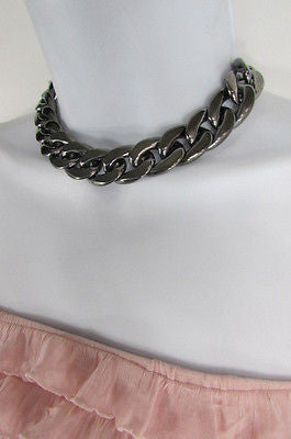 Women Fashion Pewter Gunmetal Light weight Plastic Chunky Chain Thick Necklace - alwaystyle4you - 10