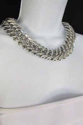 New Women Short Lightweight Chunky Silver Thick Big Chains Fashion Necklace - alwaystyle4you - 6