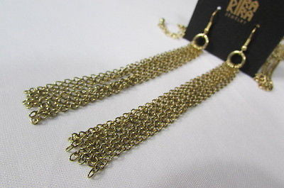 Extra Long Gold Multi Strands Chains Necklace + Earrings Set New Women Fashion - alwaystyle4you - 4
