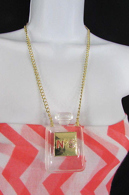New Women Gold Metal Chains Fashion Necklace Clear Plastic Perfume Bottle No 5 - alwaystyle4you - 5
