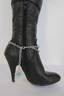 Turqoise Blue Beads Silver Metal Boot Chain Bracelet One Strap New Women Fashion Western - alwaystyle4you - 6