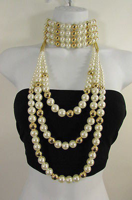Gold Metal Multi Pearl Beads 3 Strands Chains Choker Necklace New Women Fashion Accessories