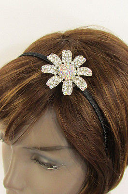 Silver Large Flower Rhinestones Head Hair Black Band New Women Classic Accessories