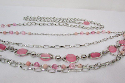 Pink Beads Silver Metal Multi Chains 5 Strands Hip Waist Belt New Women Fashion Accessories XS S M L - alwaystyle4you - 5