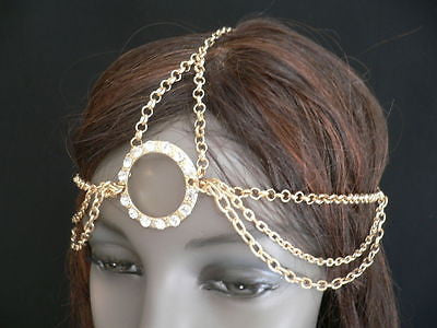 New Miami Beach Women Gold Big Ring Metal Head Chain Jewelry Hair Accessories - alwaystyle4you - 11