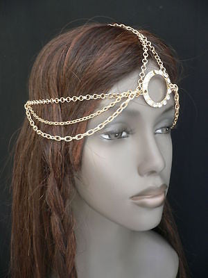 New Miami Beach Women Gold Big Ring Metal Head Chain Jewelry Hair Accessories - alwaystyle4you - 9