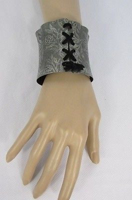 Silver Metal Bracelet Black Tie Corset Flowers Stamp New Women Fashion Jewelry Accessories - alwaystyle4you - 6