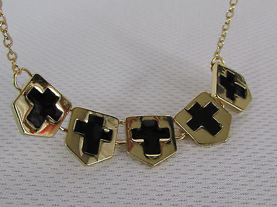 New Women Gold Metal Chain Fashion Necklace Five Mini Black Crosses Long Pendant - alwaystyle4you - 11