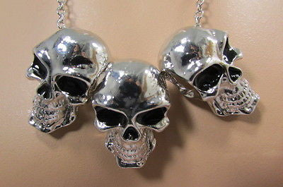 Long Metal Chains Fashion Necklace 3 Big Silver Black Skulls Pendant New Men Style Accessories - alwaystyle4you - 6