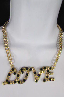 "New Women Fashion Necklace Gold Metal Chains LOVE Pendant Black Rhinestone 16"" - alwaystyle4you - 2"