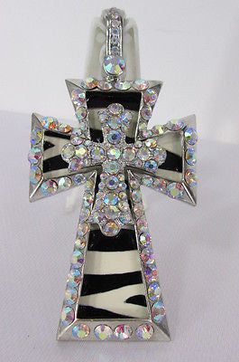 New Women Silver Metal Plate Scarf Necklace Pendant Charm Big Cross Rhinestones - alwaystyle4you - 1