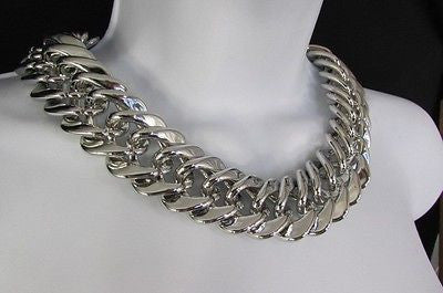 New Women Short Lightweight Chunky Silver Thick Big Chains Fashion Necklace - alwaystyle4you - 1