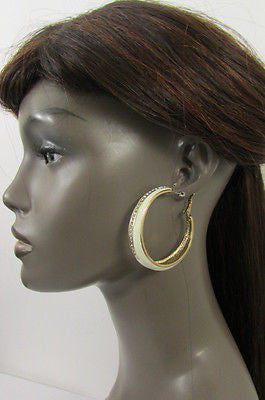 N. Women Gold White Metal Classic Hoop Fashion Earrings Set Multi Rhinestones - alwaystyle4you - 10