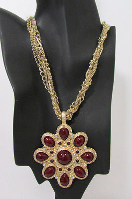 Long Gold Chains Necklace Big D. Red Flower Pendant + Earrings Set New Women Fashion - alwaystyle4you - 4