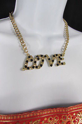 "New Women Fashion Necklace Gold Metal Chains LOVE Pendant Black Rhinestone 16"" - alwaystyle4you - 8"