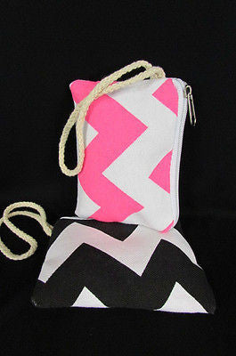 New Women Fashion Mini Purse Fabric Make Up Coin Wallet Chevron Print Rope Starp - alwaystyle4you - 8