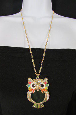 New Women Long Fashion Necklace Thin Gold Chains Owl Magnifying Glass Pendant - alwaystyle4you - 6