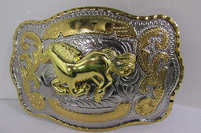 "New Belt Buckle 5.5""/4"" Big Gold Rodeo Horse Large Silver Metal Western Rodeo Fashion Belt Buckle 3D Texas - alwaystyle4you - 12"