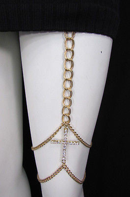 New Women Gold Thigh Leg Metal Chain Links Garter Big Cross Fashion Body Jewelry - alwaystyle4you - 10