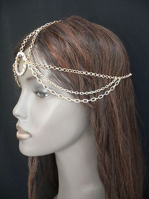 New Miami Beach Women Gold Big Ring Metal Head Chain Jewelry Hair Accessories - alwaystyle4you - 4