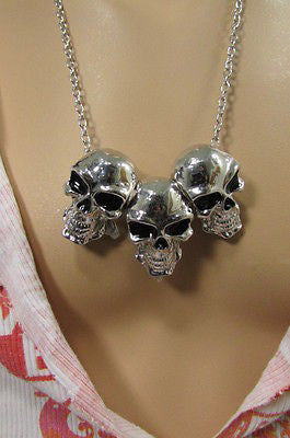 Long Metal Chains Fashion Necklace 3 Big Silver Black Skulls Pendant New Men Style Accessories - alwaystyle4you - 2