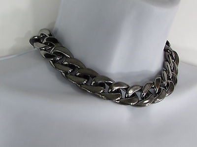 Women Fashion Pewter Gunmetal Light weight Plastic Chunky Chain Thick Necklace - alwaystyle4you - 1