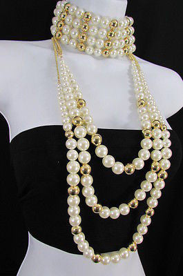 Gold Metal Multi Pearl Beads 3 Strands Chains Choker Necklace New Women Fashion - alwaystyle4you - 4