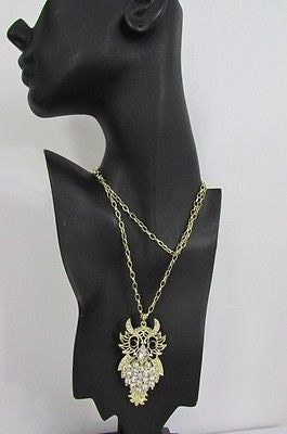 "New Women 26"" Gold Metal Chains Fashion Necklace Big Owl Silver Rhinestone - alwaystyle4you - 8"