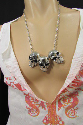 Long Metal Chains Fashion Necklace 3 Big Silver Black Skulls Pendant New Men Style Accessories - alwaystyle4you - 5