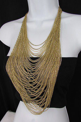 Extra Long Gold Multi Strands Chains Necklace + Earrings Set New Women Fashion - alwaystyle4you - 6