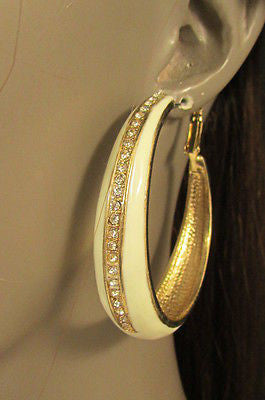 N. Women Gold White Metal Classic Hoop Fashion Earrings Set Multi Rhinestones - alwaystyle4you - 9