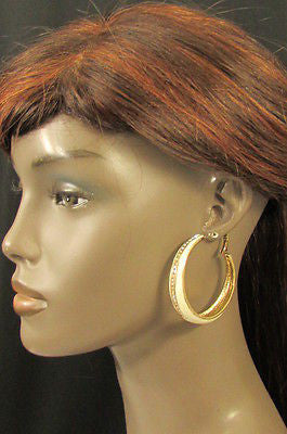 N. Women Gold White Metal Classic Hoop Fashion Earrings Set Multi Rhinestones - alwaystyle4you - 3