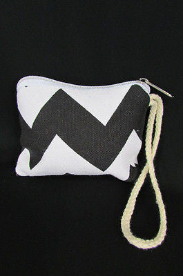 New Women Fashion Mini Purse Fabric Make Up Coin Wallet Chevron Print Rope Starp - alwaystyle4you - 13